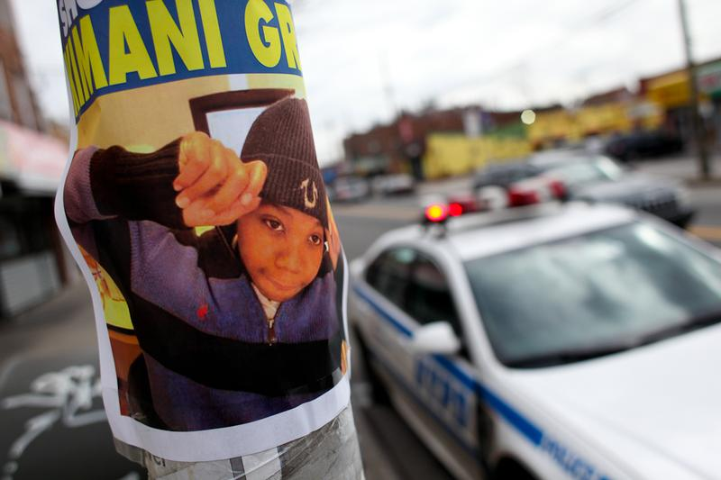 Poster calling on police to investigate the shooting of 16-year-old Kimani Gray hang on telephone poles along Church Ave. in East Flatbush, Brooklyn.