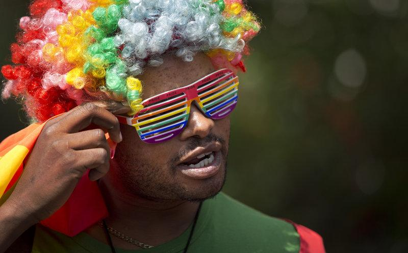 A protester joins a 2014 rally in Kenya to protest Uganda's increasingly tough stance on homosexuality.