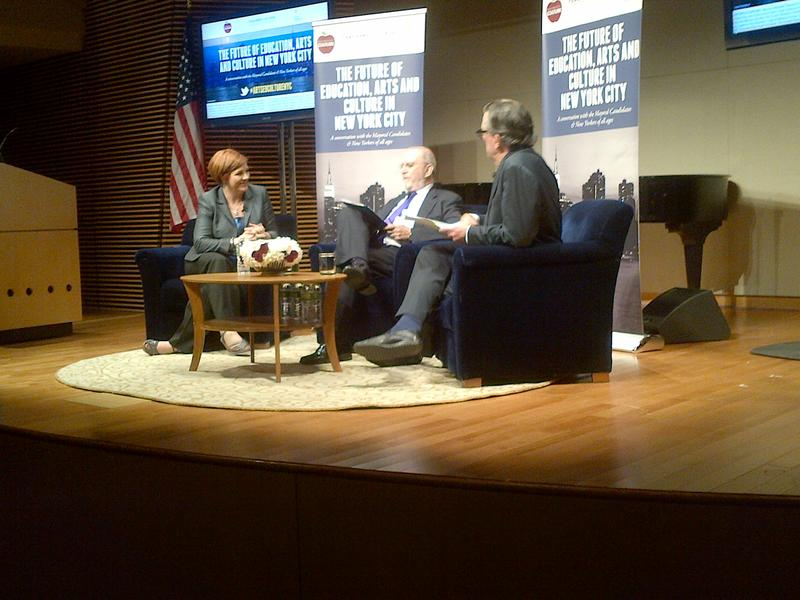 City Council Speaker Christine Quinn, fielding questions from WNYC hosts Leonard Lopate and Kurt Andersen (right)