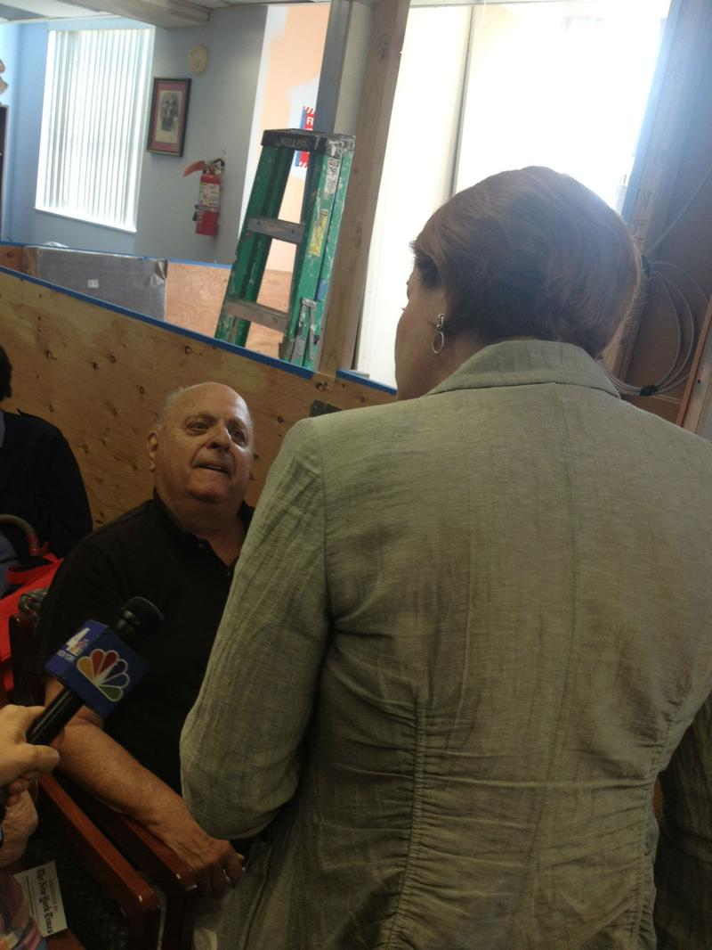 A voter at a Bronx senior center confronts Christine Quinn about her position on stop-and-frisk, telling her he worries any changes will make the city less safe.