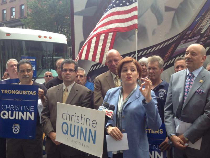 Council Speaker Christine Quinn accepts the endorsements of Teamsters Joint District 16 on June 17, 2013.