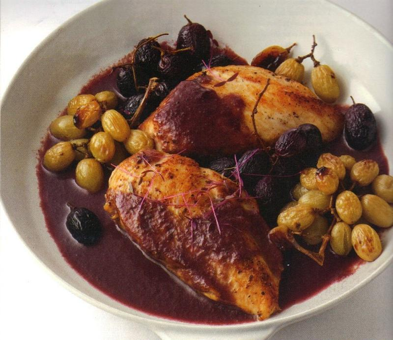 Rozanne Gold's Chicken with Roasted Grapes & Grape Demi-Glace. From Radically Simple, published by Rodale.