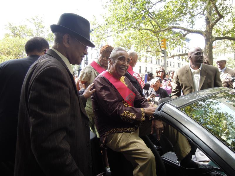 Rep. Charles Rangel takes his position as a grand marshal of the African American Day Parade.