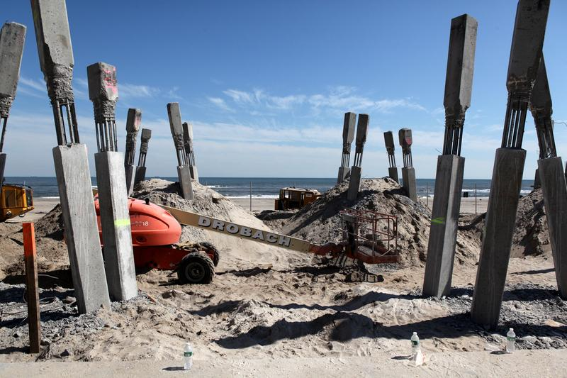 Construction at Rockaway Beach and 116th Street in late April 2013.