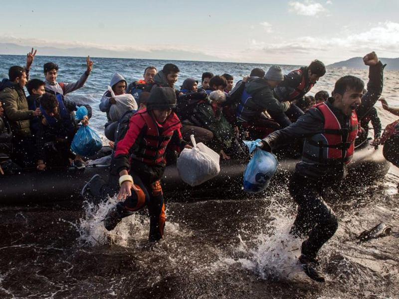 Refugees arriving on the Greek island of Lesbos