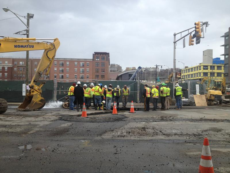 Contractors working to repair a 30 inch water main break that flooded streets in Hoboken.