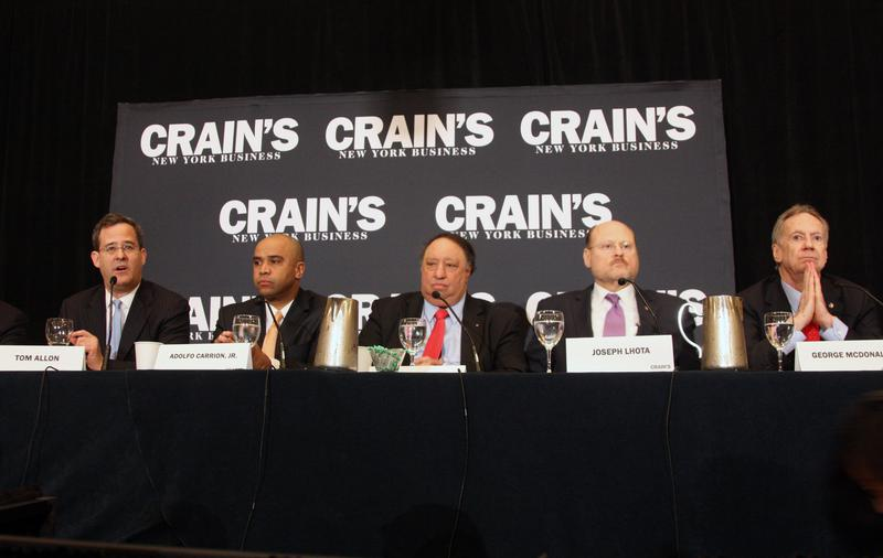 Tom Allon, Adolfo Carrión Jr., John Catsimatidis, Joseph Lhota and George McDonald at the Republican mayoral debate and breakfast forum that was held at the Roosevelt Hotel on March, 6 2013 by Crain's