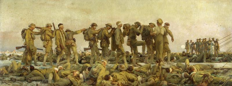 """The enormous painting """"Gassed"""" by John Singer Sargent depicts soldiers blinded by mustard gas during World War One, now on view at the New-York Historical Society."""