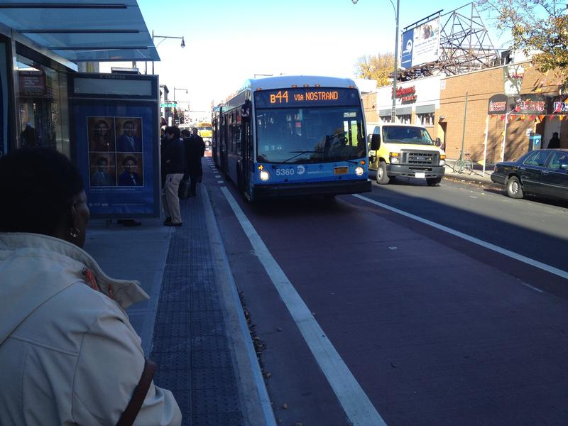 Bus rolls into a stop at Church and Nostrand Aves on Brooklyn's first SBS route.