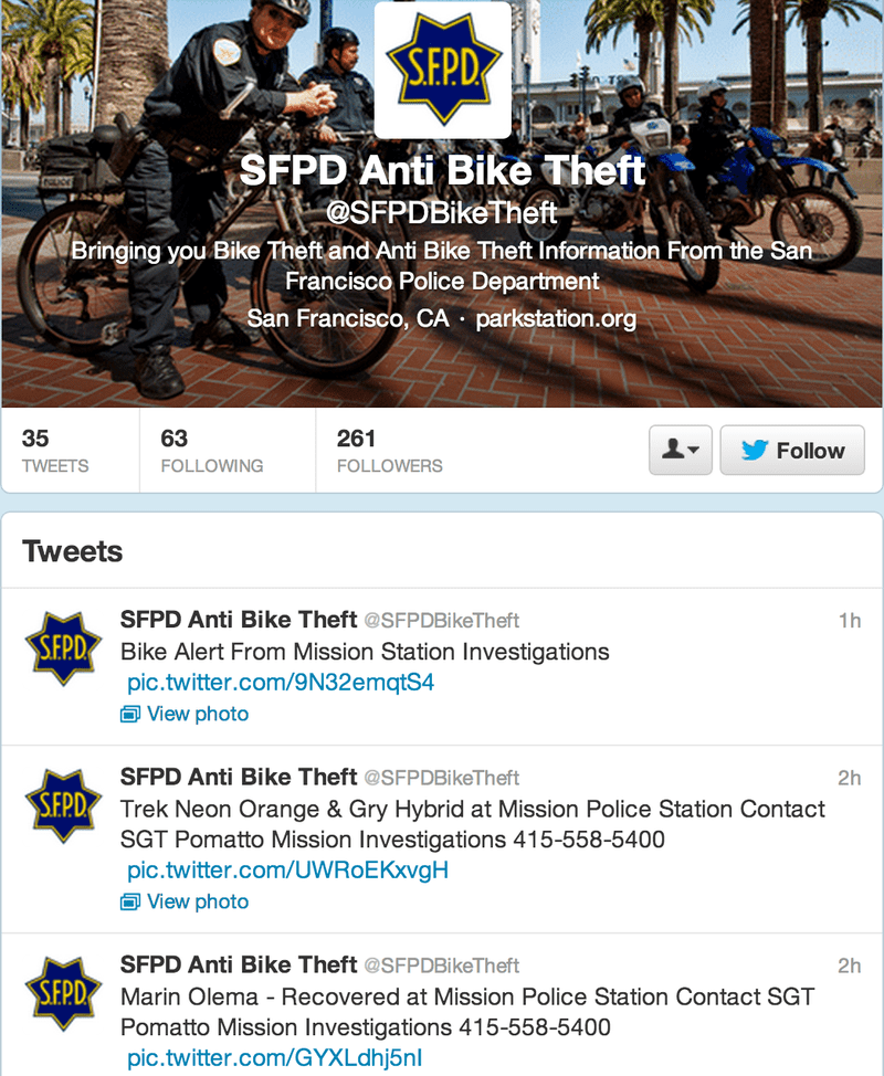 A screenshot of the SFPD's new Twitter feed dedicated to bike theft