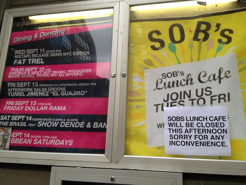 A sign outside SOB's nightclub on Varick