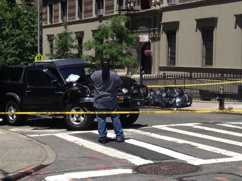 An SUV hopped a curb at West 97th Street and Amsterdam Ave., killing a 4-year-old girl and injuring her grandmother.
