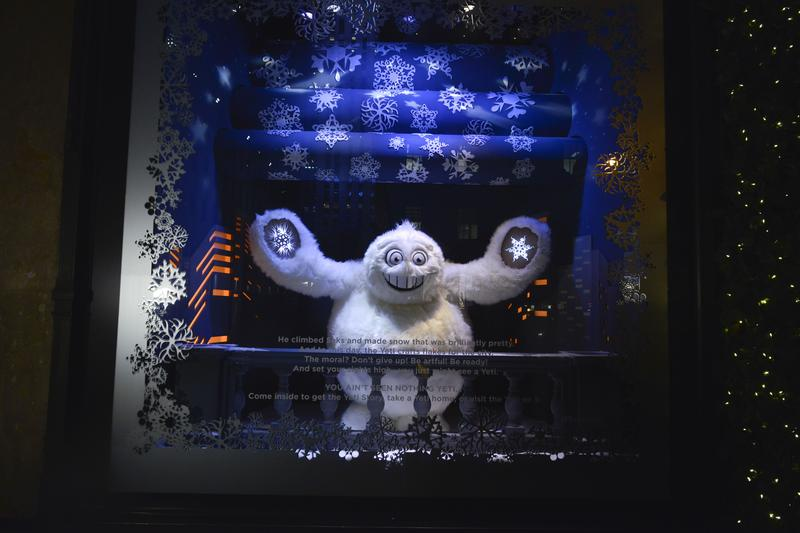 Yeti at Saks Fifth Avenue's animated window