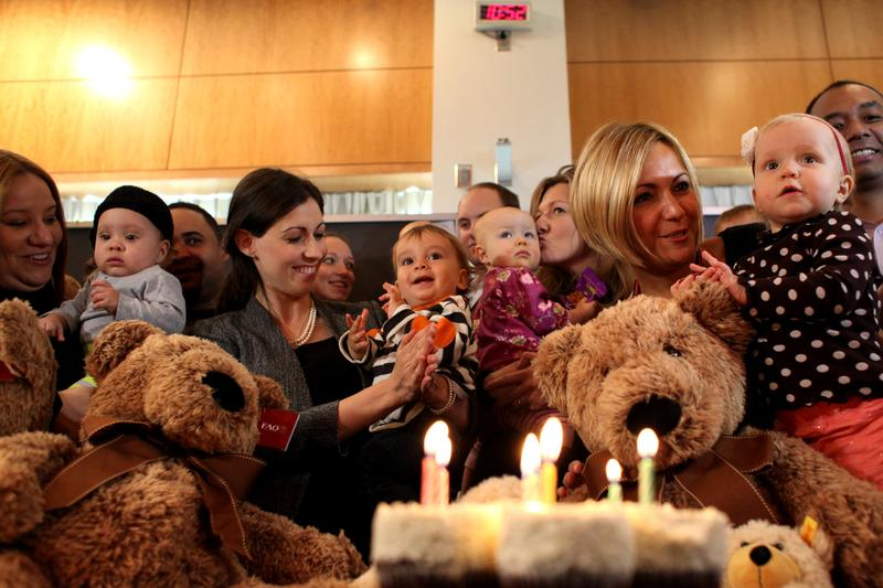 Fifteen babies who were evacuated from NYU Langone Medical Center after Sandy hit reunited at the hospital for their first birthday party one year later.