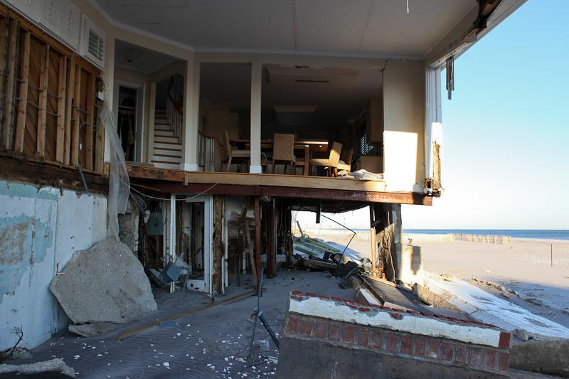 A home in Belle Harbor, Queens, that remains damaged after Sandy at the end of February.