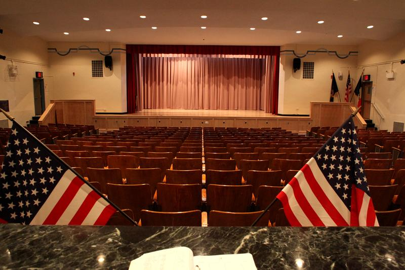 The theater at Scholars' Academy in Rockaway Park, Queens cleaned up after Hurricane Sandy.