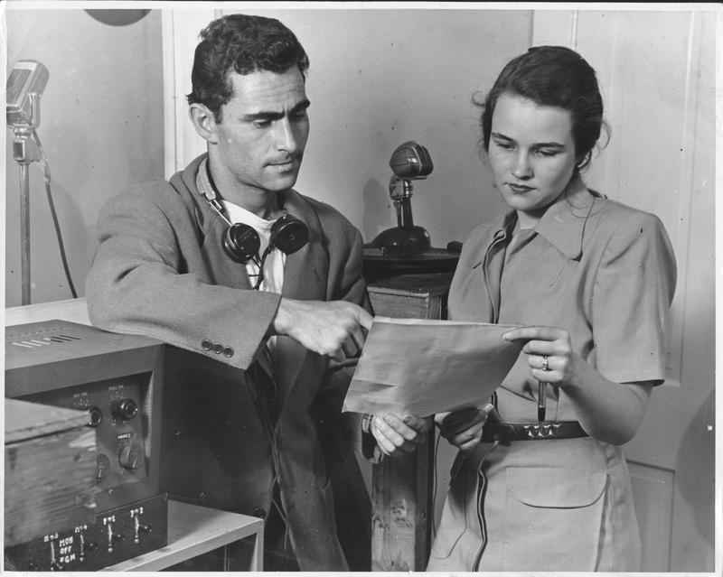 Rod and Carol Serling running the Antioch College radio station, 1949. Photo by John Hoke.