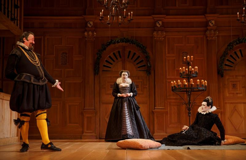 Stephen Fry as Malvolio, Paul Chahidi as Maria, Mark Rylance as Olivia in teh Shakepeare's Globe production of Twelfth Night, directed by Tim Carroll, playing at teh Belasco Theatre.