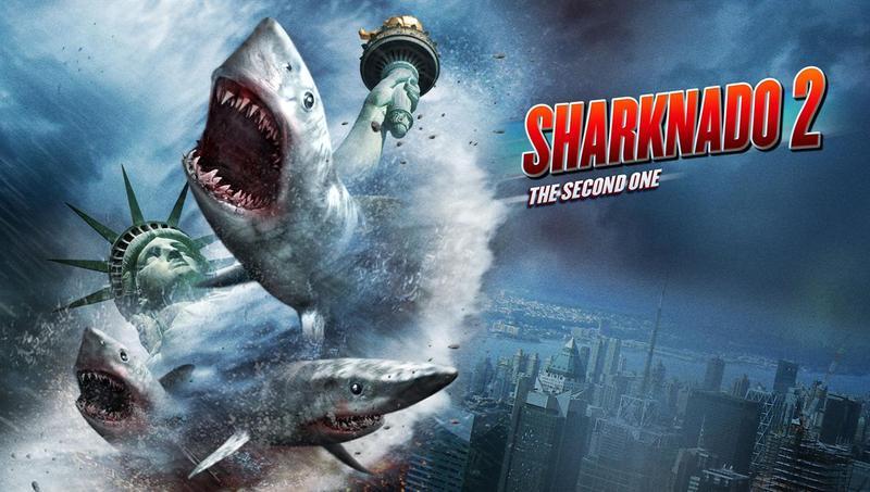 "A ""Sharknado 2"" movie poster."