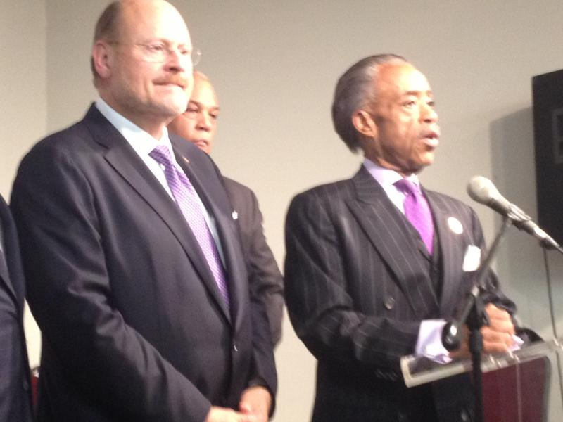 Republican mayoral candidate Joe Lhota and Rev. Al Sharpton spoke to reporters after their private meeting in Harlem on September 17, 2013.