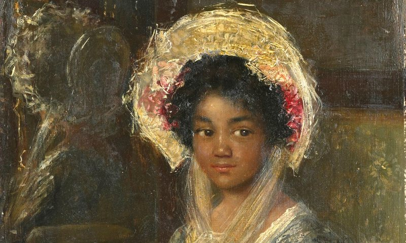 """Young Negro Girl,"" by Simon Maris has been re-titled ""Young Girl Holding a Fan"""