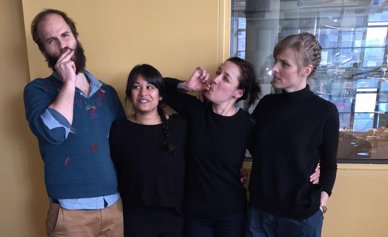 """High Maintenance"" co-creator and star Ben Sinclair, ""The Streamstress"" Arwa Gunja, Manoush Zomorodi, and ""High Maintenance"" co-creator, writer and director  Katja Blichfeld hanging out at WNYC."