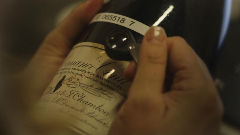 A counterfeit bottle of Romanée-Conti wine.