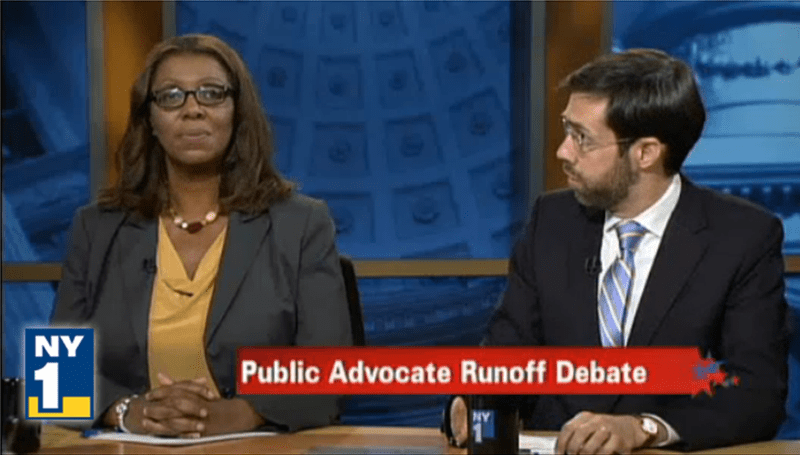 Leticia James and Daniel Squadron during the Campaign Finance Board's Democratic Public Advocate runoff debate.