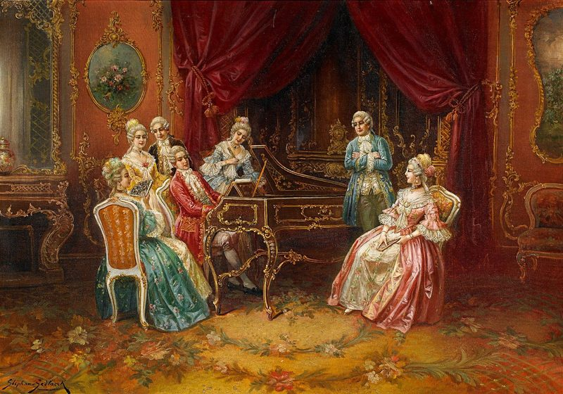 """Der junge Mozart am Spinett: """"The Young Mozart at the harpsichord."""" by Stephan Sedlaczek (1868-1936)"""