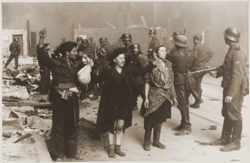 "Warsaw Ghetto Uprising - Photo from Jürgen Stroop Report to Heinrich Himmler from May 1943. The original German caption reads: ""These bandits resisted by force of arms"". Picture taken at Nowolipie str"