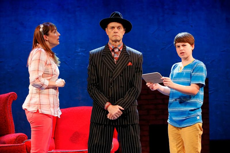 "Julia Murney, David Hyde Pierce, and FrankieSeratch in ""The Landing"" at the Vineyard Theatre."