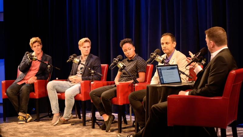 """(L to R) Sally Kohn, Robby Soave, Jamilah King, Moustafa Bayoumi and Todd Zwillich speaking at """"The UnConvention: Political Correctness, From Left to Right,"""" a panel held at The Greene Space. 10/18/16"""