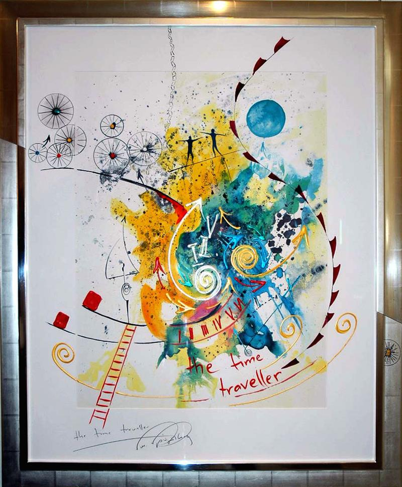 """A colorful painting with the text """"the time traveller."""""""