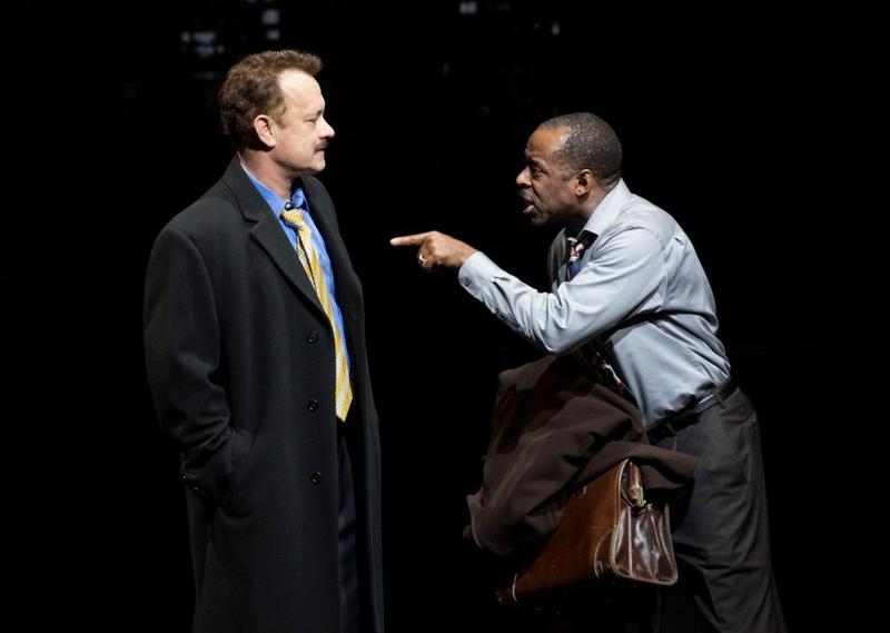 """Tom Hanks and Courtney B. Vance in """"Lucky Guy,"""" by Nora Ephron, directed by George C. Wolfe. At the Broadhurst Theatre"""