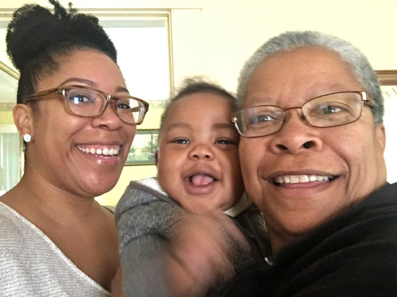Tracy Clayton with her great-nephew, Jayden, and her mom, Velva.