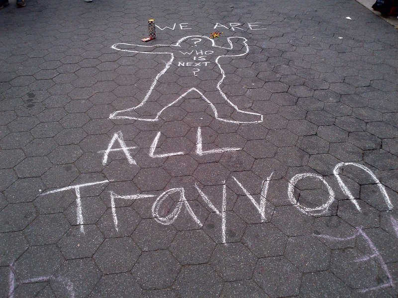 Protesters at Union Square made memorials for Trayvon Martin, the unarmed teenager shot to death by George Zimmerman.