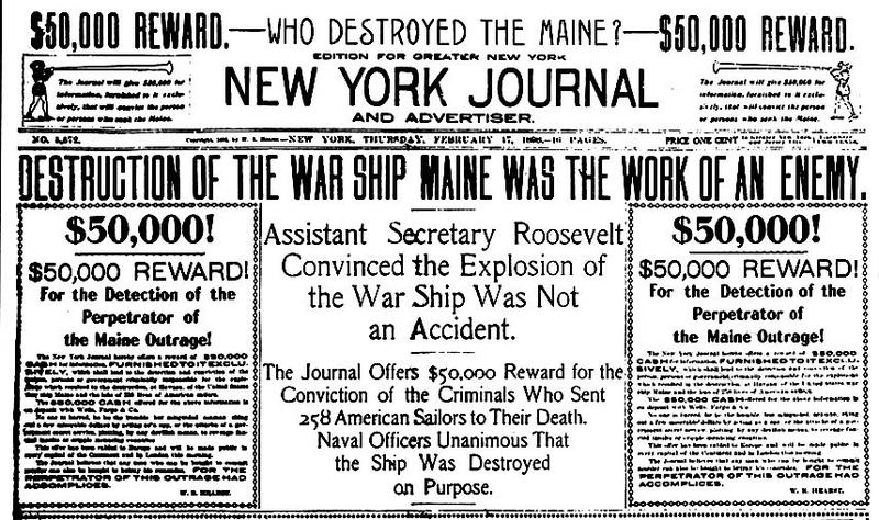 Cover of the New York Journal; February 17, 1898