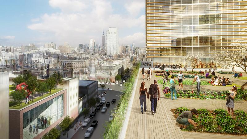 Renderings of rooftop urban garden by SHop Architects for the Essex Crossing development on the Lower East Side.