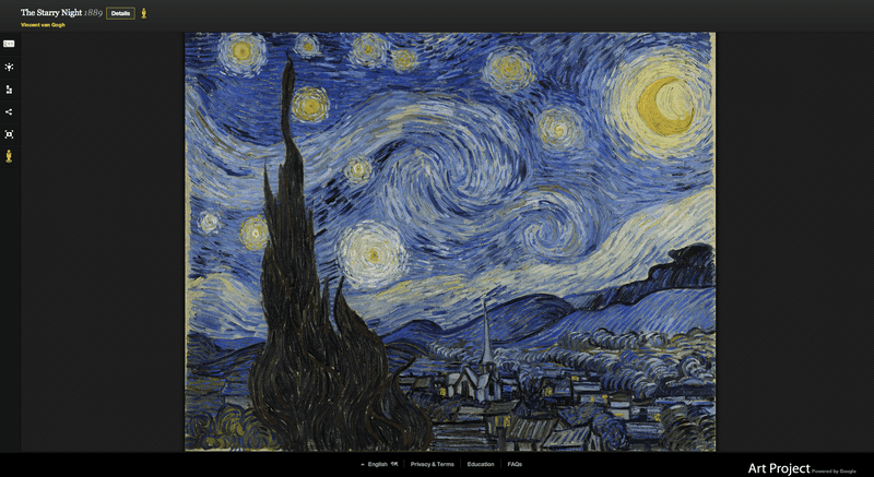 """The Starry Night"" (1889) by Vincent Van Gogh from the collection at MOMA, as seen on Google Art Project"