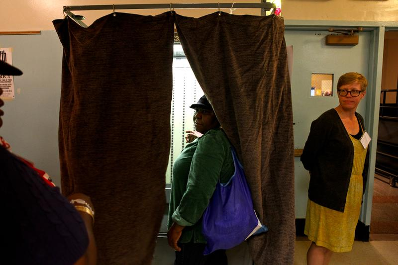 Voters in Crown Heights casting ballots in the 2013 primary election.