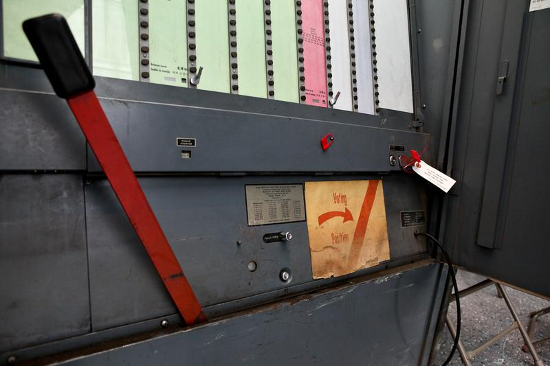 New York City's 50-year-old lever operated voting machines being used in the 2013 primary election.