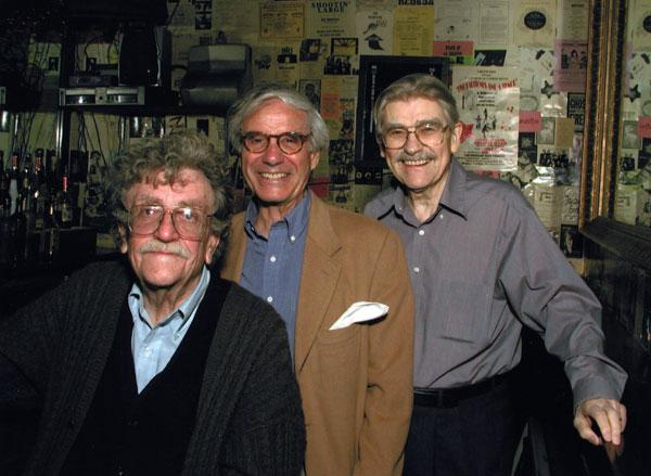 Kurt Vonnegut, Sidney Offit and Walter James Miller on May 11, 2002 at the bar of the Producers Club Royal Theatre, just before Miller's verse drama, Joseph in the Pit, The Third Dream.