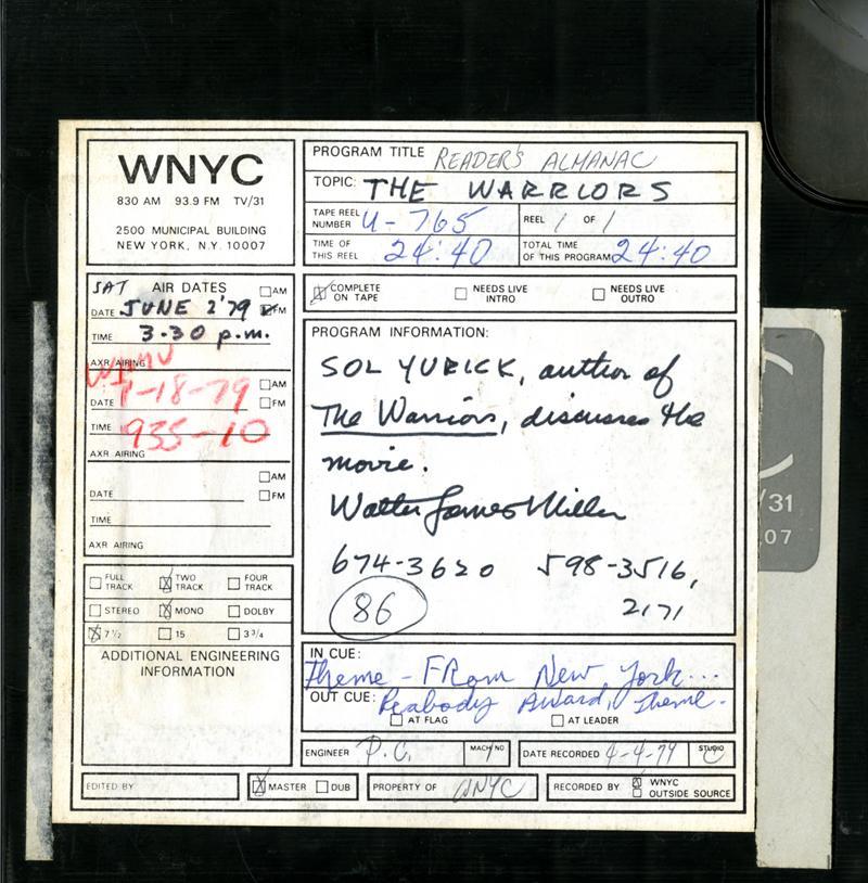 Sol Yurick on Reader's Almanac, June 2nd, 1979