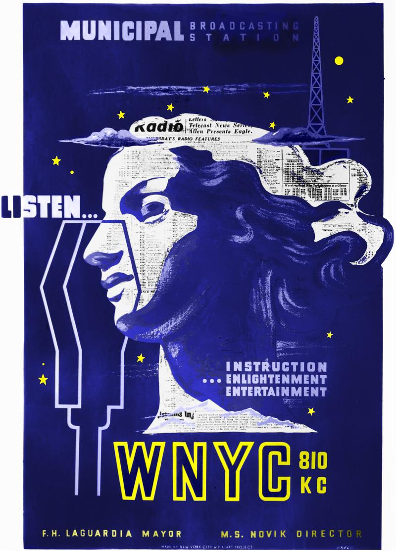 WNYC WPA era Poster circa1939-1940. This is a colorized rendition of a black and white photo by Michael Lorenzini.