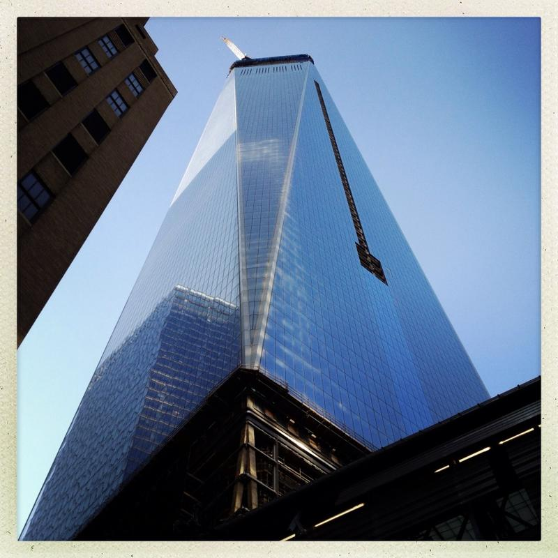 Looking up at One World Trade Center, now the tallest building on the continent.