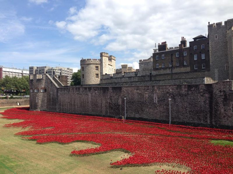 The 800-hundred thousand red poppies at the Tower of London represent each British or Colonial fatality in during WWI.