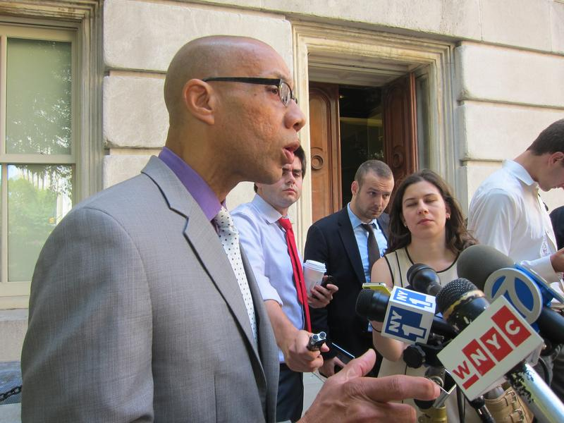 Schools Chancellor Dennis Walcott, addressing reporters outside the Department of Education headquarters.