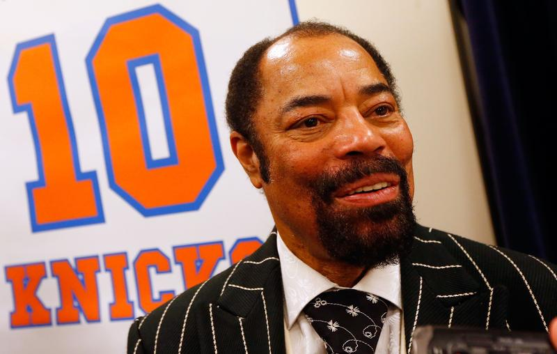 Former New York Knick Walt Frazier speaks to the media during a press conference prior to the Knicks game against the Milwaukee Bucks at Madison Square Garden on Friday, April 5 2013 in New York City.