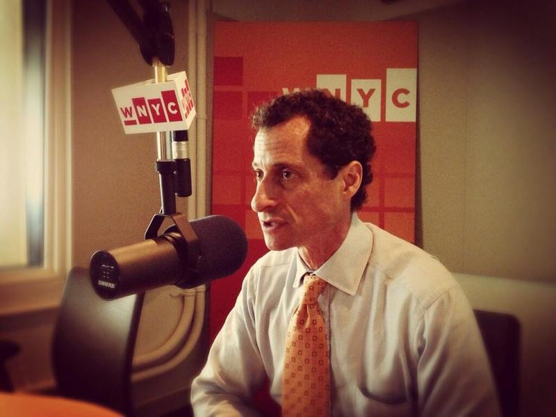 Mayoral candidate Anthony Weiner in the WNYC Studios talking to Brian Lehrer