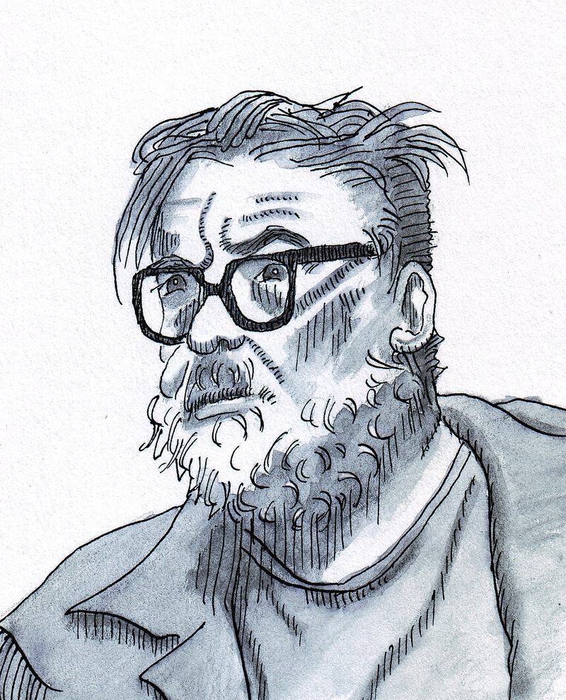 A sketch of William Packard in ink and wash from June, 2014.